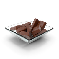 Square Bowl with Sponge Cakes in Crisp Chocolate Cover PNG & PSD Images