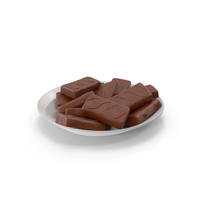 Plate with Sponge Cakes in Crisp Chocolate Cover PNG & PSD Images