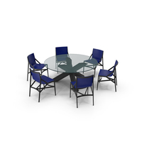 Cassina Dining Table Chair Set Black Glass Blue PNG & PSD Images