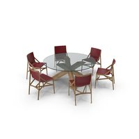 Cassina Dining Table Chair Set Oak Glass Red PNG & PSD Images