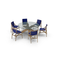 Cassina Dining Table Chair Set Oak Glass Blue PNG & PSD Images
