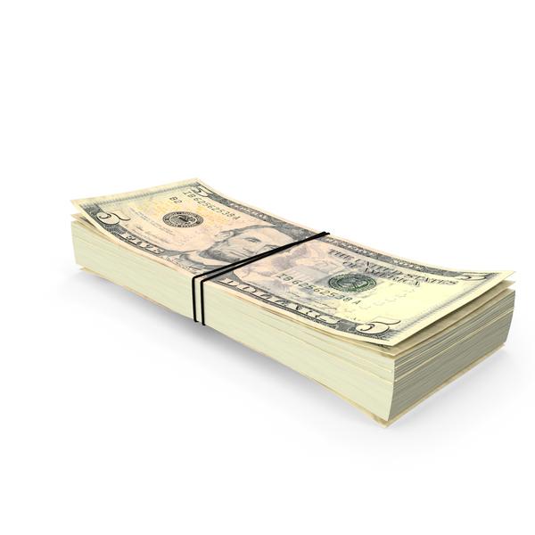 Stack of Five Dollar Bills PNG & PSD Images