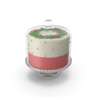 Christmas Cake with Glass Dome PNG & PSD Images