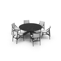 Cassina Dining Set Black Marble White PNG & PSD Images