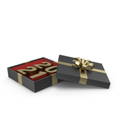 Gold Symbol 2021 in Black Gift Box with Gold Ribbon PNG & PSD Images