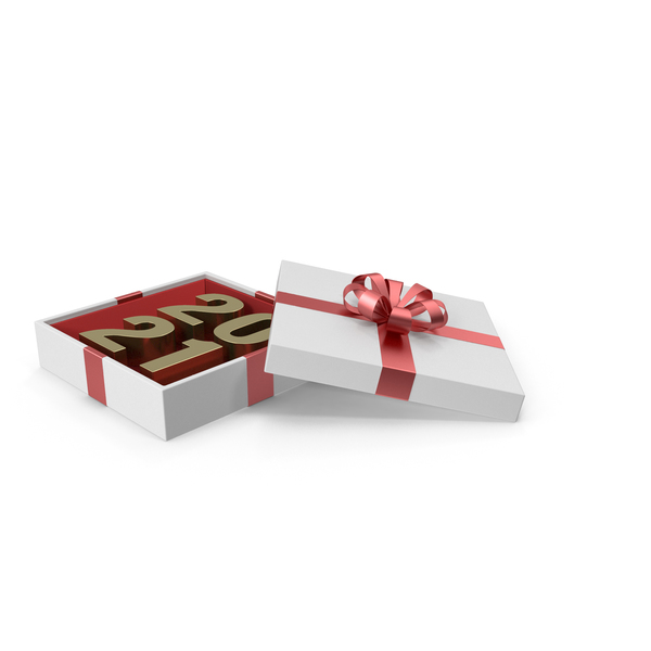 Gold Symbol 2021 in White Gift Box with Red Ribbon PNG & PSD Images