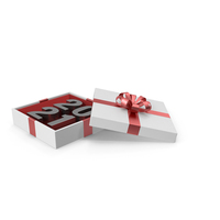 Silver Symbol 2021 in White Gift Box with Red Ribbon PNG & PSD Images