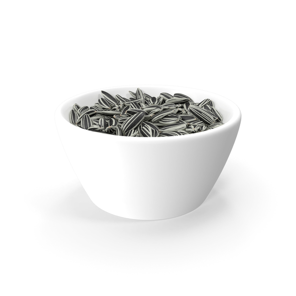 Striped Sunflower Seeds in a Bowl PNG & PSD Images