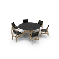 Cassina Dining Table Chair Set Oak Marble PNG & PSD Images