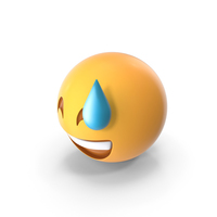Smiling With Sweat Emoji PNG & PSD Images