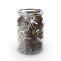 Jar with Wrapped Fancy Lollipops PNG & PSD Images
