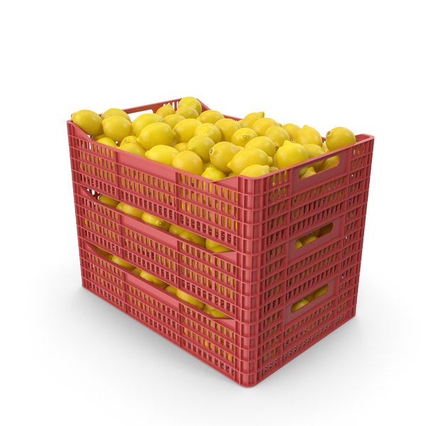 Plastic Crates with Lemons PNG & PSD Images