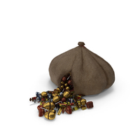 Torn Sack with Mixed Fancy Wrapped Candy PNG & PSD Images