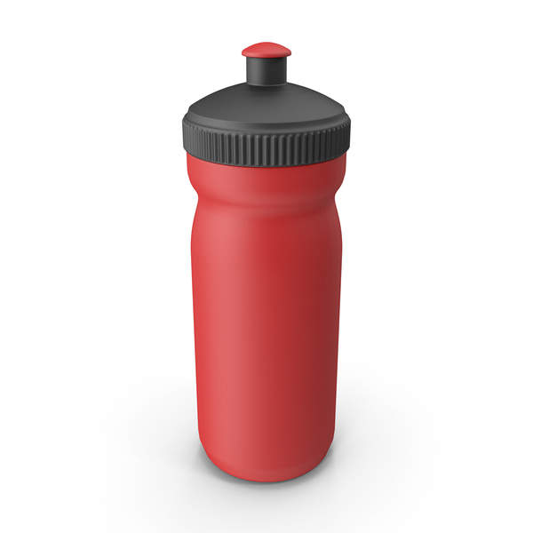 Red Sport Bottle with Black Cap PNG & PSD Images