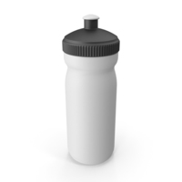 White Sport Bottle with Black Cap PNG & PSD Images
