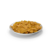 Plate with Corn Tortilla Nacho Chips PNG & PSD Images