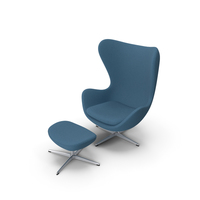 Egg Lounge Chair Fabric Blue PNG & PSD Images