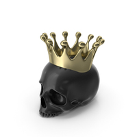 Black Skull Head Candle with Gold Crown PNG & PSD Images