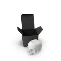 White Skull Head Candle with Box PNG & PSD Images