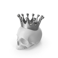 White Skull Head Candle with Silver Crown PNG & PSD Images