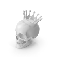 White Skull With Crown PNG & PSD Images