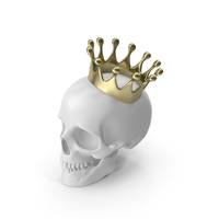 White Skull With Gold Crown PNG & PSD Images