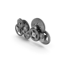 Gear Mechanism Silver PNG & PSD Images