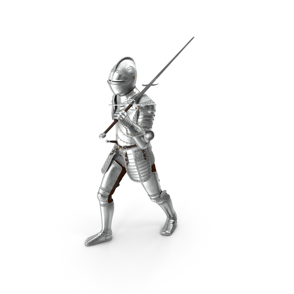 Polished Knight Plate Armor Walking Pose PNG & PSD Images