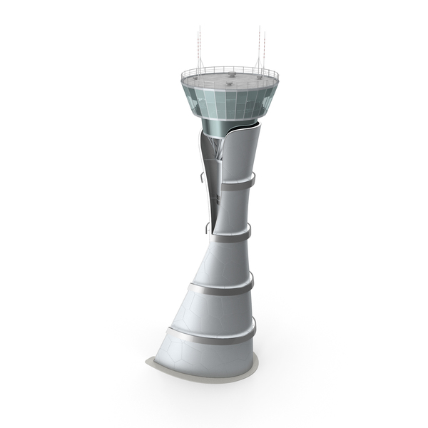 Airport Air Traffic Control Tower with Interior Generic PNG & PSD Images