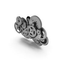 Clockwork Gear Mechanism Silver PNG & PSD Images