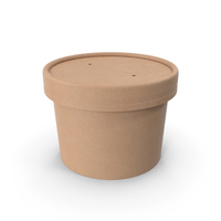 Kraft Paper Food Cup with Vented Lid Disposable Ice Cream Bucket 8 Oz 200 ml PNG & PSD Images