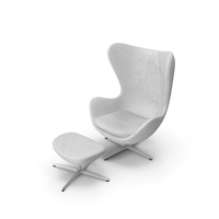 Egg Lounge Chair White Leather PNG & PSD Images