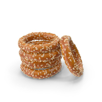 Small Pile of Mini Pretzel Rings with Sesame PNG & PSD Images