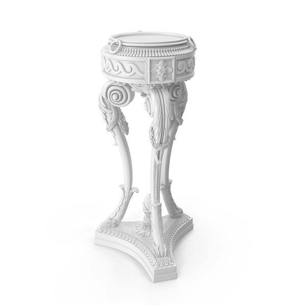 White Baroque Planter PNG & PSD Images