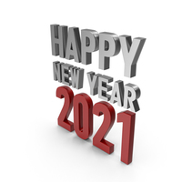 Happy New Year 2021 Symbol Silver and Red PNG & PSD Images