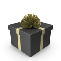 Black Gift Box with Gold Ribbon PNG & PSD Images
