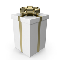 White Gift Box with Gold Bow PNG & PSD Images