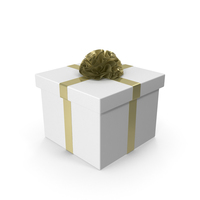 White Gift Box with Gold Ribbon PNG & PSD Images