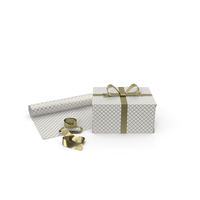 White and Gold Pattern Gift Box with Paper Roll and Gold Foil Ribbon PNG & PSD Images