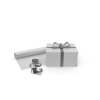 White and Silver Pattern Gift Box with Paper Roll and Silver Foil Ribbon PNG & PSD Images