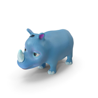 Toon Rhino Baby Blue PNG & PSD Images