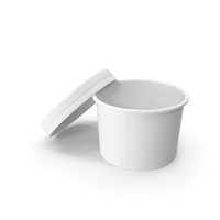 White Paper Food Cup with Vented Lid Disposable Ice Cream Bucket 8 Oz 200 ml Mockup Open PNG & PSD Images