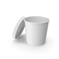 White Paper Food Cup with Vented Lid Disposable Ice Cream Bucket 26 Oz 750 ml Open PNG & PSD Images