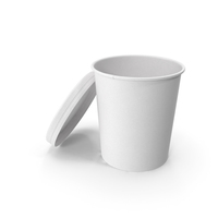 White Paper Food Cup with Vented Lid Disposable Ice Cream Bucket 32 Oz 900 ml Open PNG & PSD Images