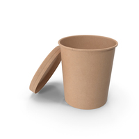 Kraft Paper Food Cup with Vented Lid Disposable Ice Cream Bucket 32 Oz 900 ml Open PNG & PSD Images