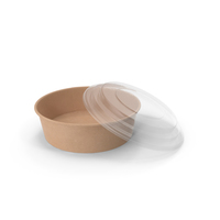 Kraft Paper Food Bowl with Clear Lid for Soup for Salad 20 Oz 500 ml Open PNG & PSD Images