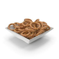 Square Bowl with Pretzel Rings with Sesame PNG & PSD Images