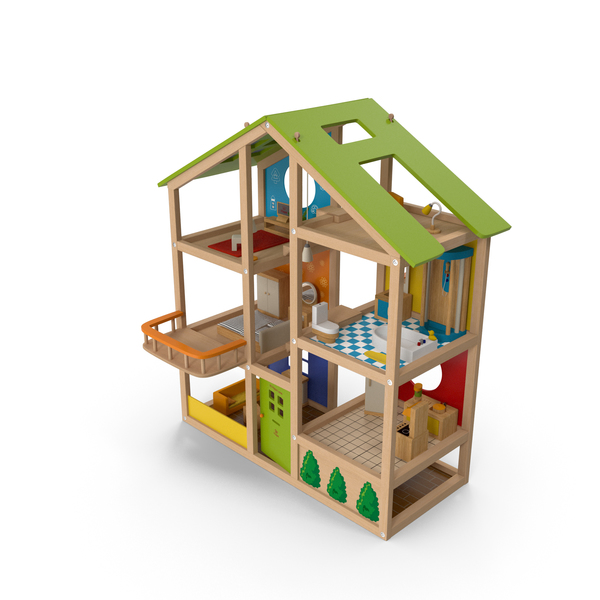 All Seasons Kids Wooden Dollhouse by Hape Furnished PNG & PSD Images