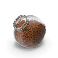 Spherical Jar with Pretzel Rings PNG & PSD Images