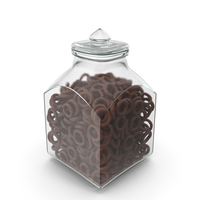 Square Jar With Chocolate Covered Rings PNG & PSD Images